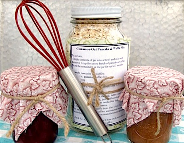 Cinnamon Oat Pancake-Waffle Mix gift-in-a-jar with homemade syrup.