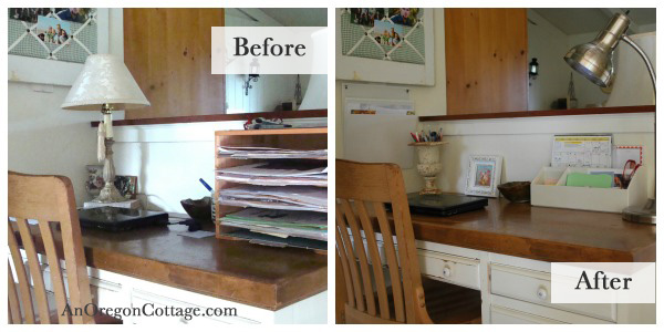 Organized Kitchen Desk Before-After - An Oregon Cottage