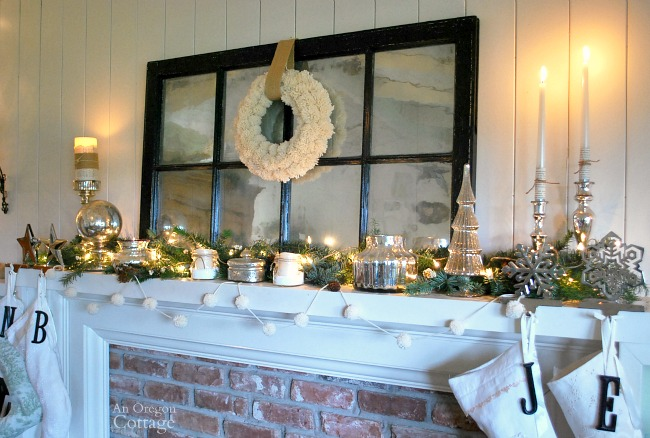 White silver and burlap Christmas mantel