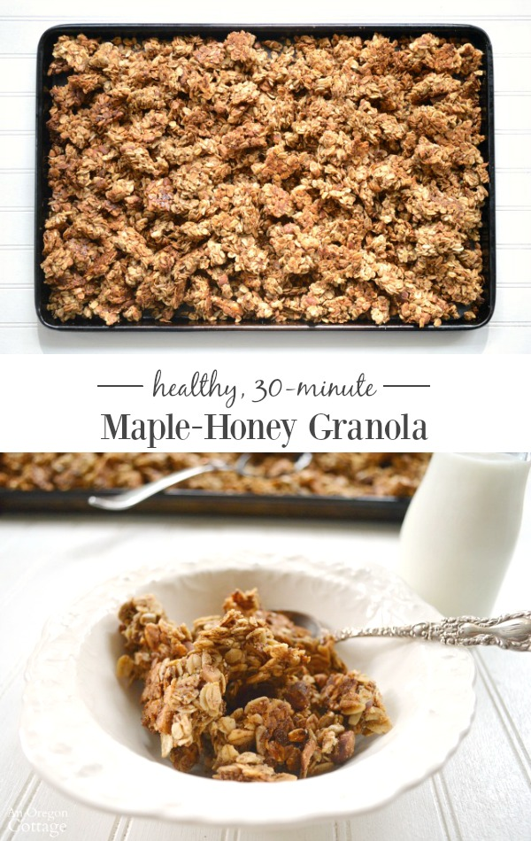 Healthy 30-minute maple honey granola- you'll never buy granola again!
