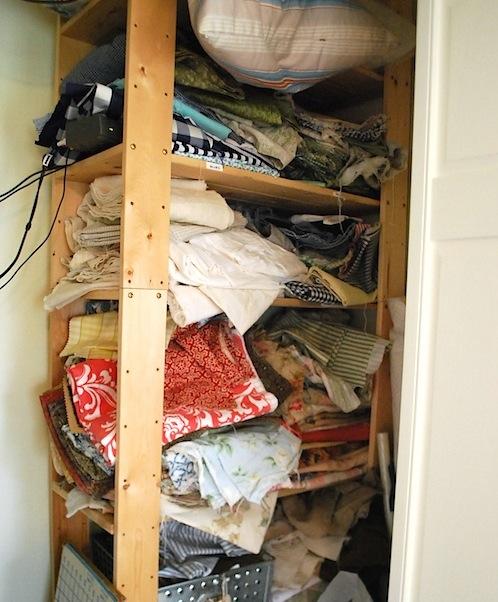 fabric shelves before