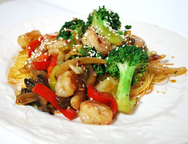 shrimp stir fry on noodles