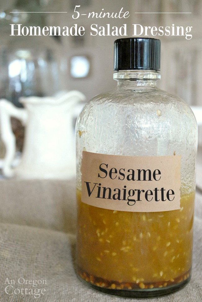 Homemade Sesame Vinaigrette Salad Dressing is ready in 5 minutes for your green salads, pasta salads or marinades.