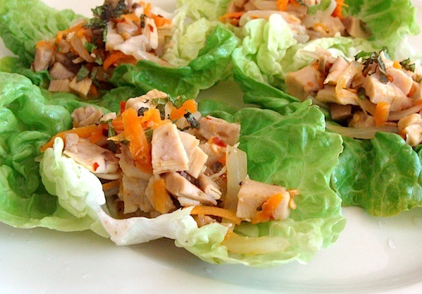 Need a quick, 15 minute meal idea? Try one of our family's favs: chicken-lime lettuce wraps!