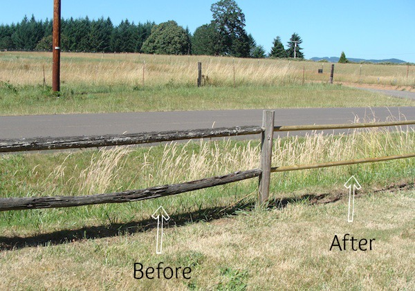 Post-and-Rail Fence Before-After