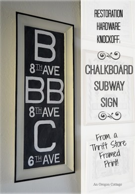 DIY Chalkboard Subway Sign {a Restoration Hardware Knockoff}
