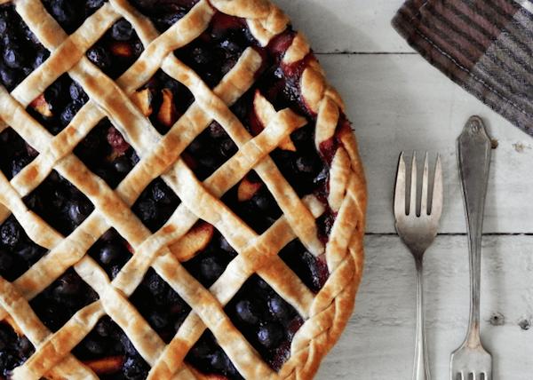 Blueberry-Peach-Ginger Pie via A Hungry Pilgrim