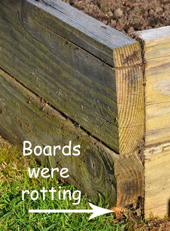 Boards-rotting on Raised Bed Rehab via Frugal Family Home