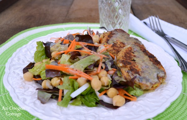 Salmon and Flax Patties with Salad and Dressing - An Oregon Cottage