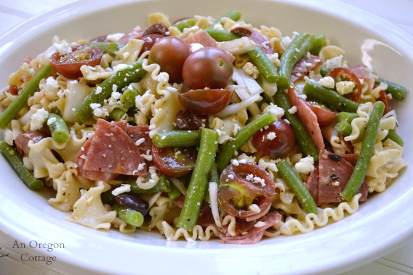 Greek Style Pasta Salad with Tomatoes and Green Beans - An Oregon Cottage