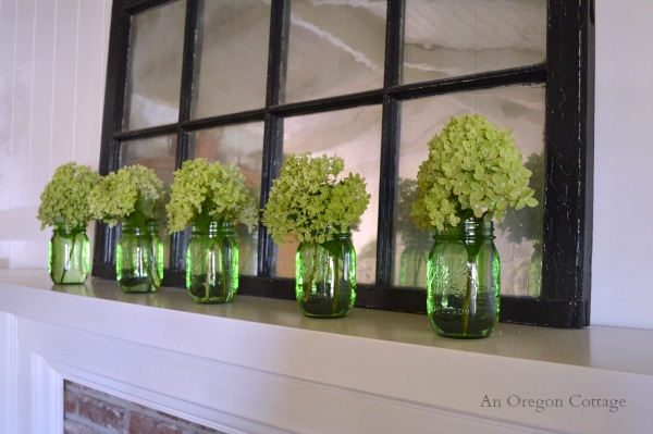 Simple Summer Mason Jar and Hydrangea Mantel - An Oregon Cottage