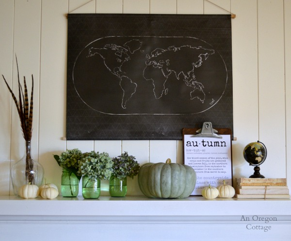 Chalkboard Map-Pumpkins-Autumn 2014 Mantel - An Oregon Cottage