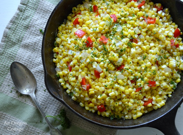 Easy Corn Pepper and Onion Saute - An Oregon Cottage
