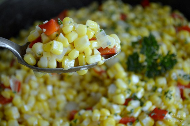 Simple and Easy Corn Red Pepper and Onion Sauté - An Oregon Cottage