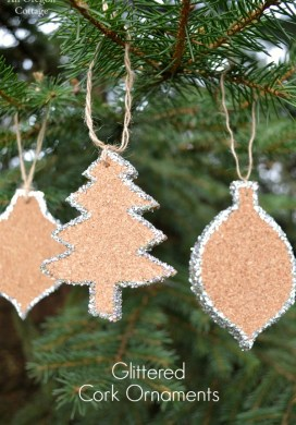 Crate & Barrel Inspired Glittered Cork Ornaments