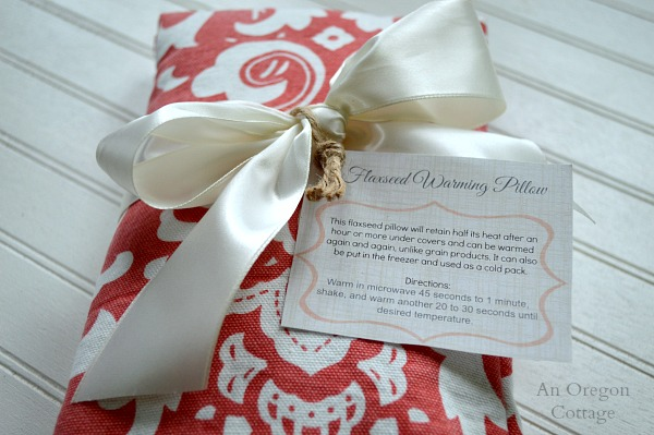 Homemade Flaxseed Warming Pillow and Free Printable Gift Tags