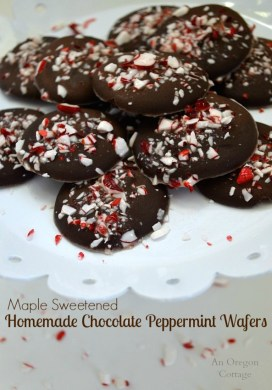 Homemade Maple Sweetened Chocolate Peppermint Wafers