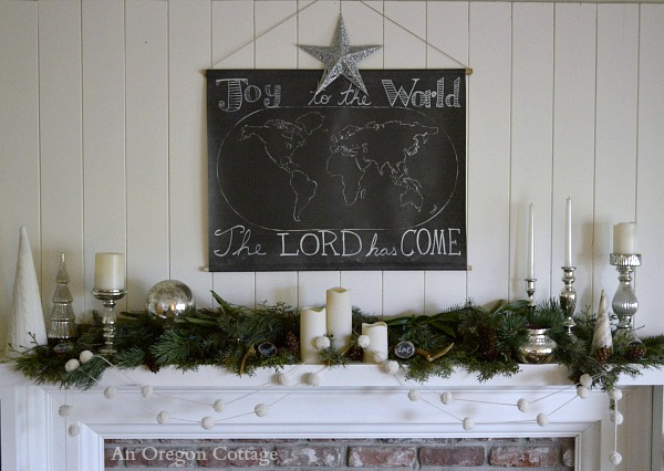 Joy To The World Chalkboard Greenery White Mercury Glass Mantel