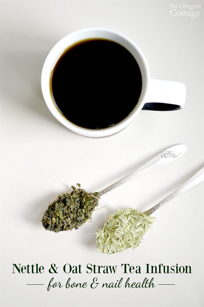 Make an easy nettle and oat straw tea infusion for a natural source of calcium and drink a cup daily as part of your arsenal to help strengthen your bones and nails.