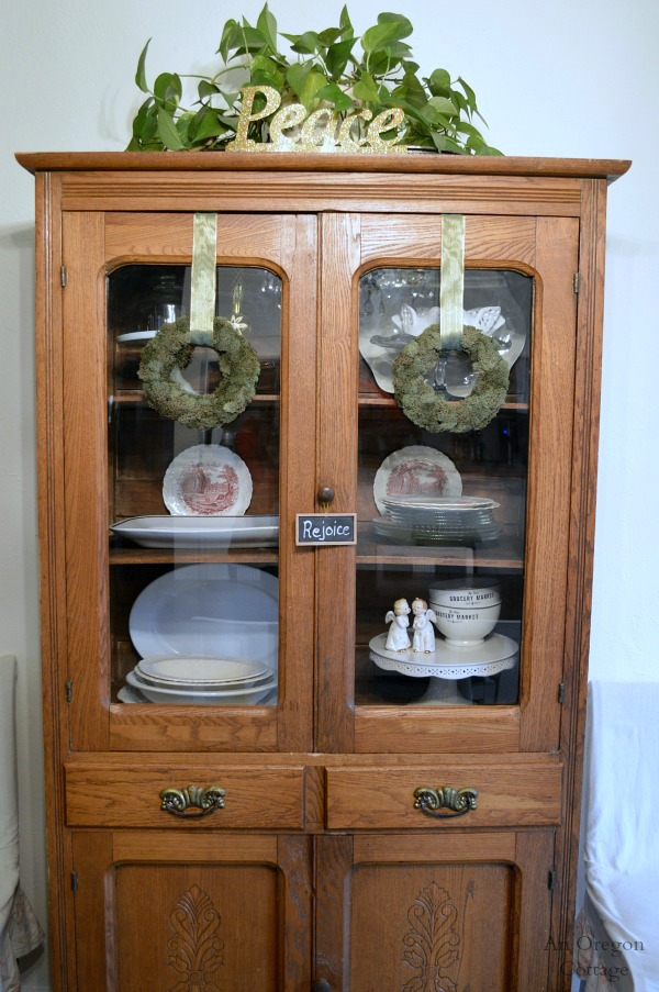 Christmas Decorating Antique China Cabinet