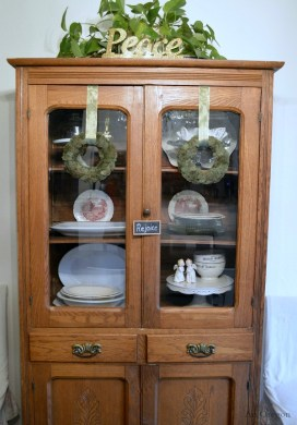 Christmas Decorating- Antique China Cabinet