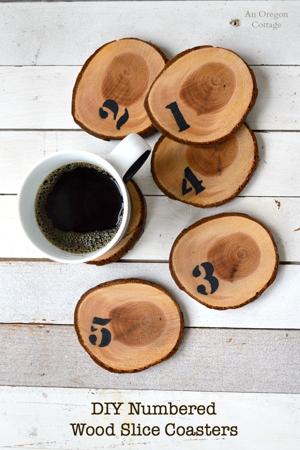 DIY Numbered Wood Slice Coasters are easily made from a tree branch, stencil, and a Sharpie!