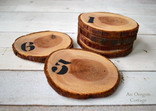 Numbered Wood Slice Coasters made from a tree branch