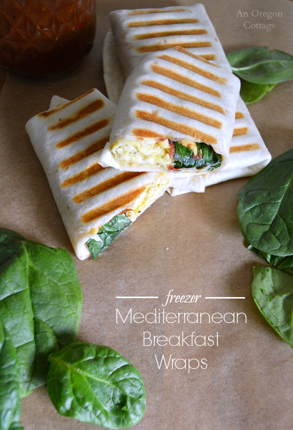 Freezer Mediterranean Breakfast Wraps- a hot breakfast on-the-go