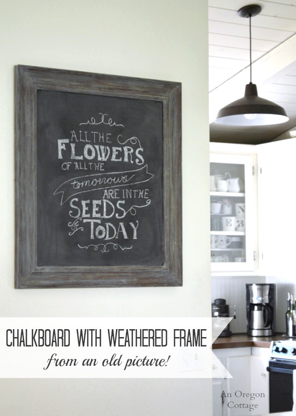 DIY Chalkboard with Weathered Frame from an Old Picture