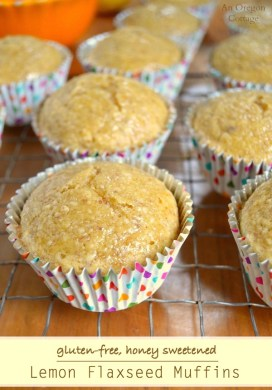 Honey Sweetened Lemon Flaxseed Muffins {Gluten-Free}