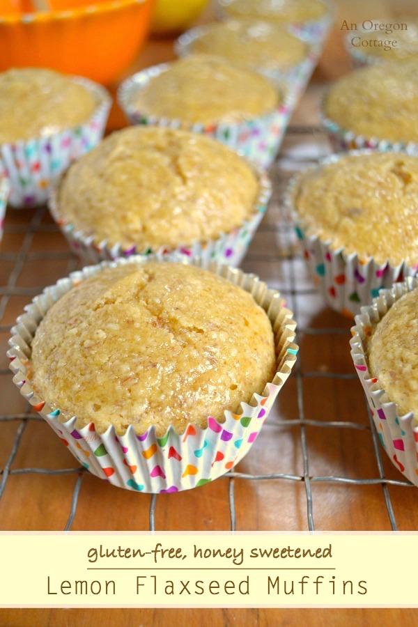 Lemon Flaxseed Muffins- Gluten-Free & Honey Sweetened