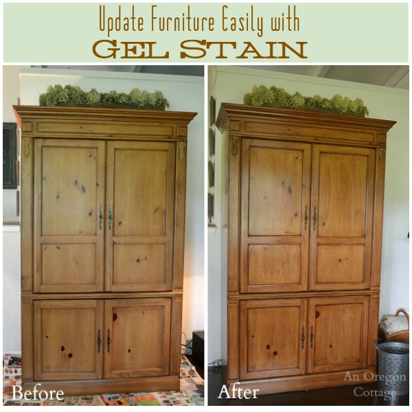 Update Furniture Easily with Gel Stain- Armoire Before-and-After