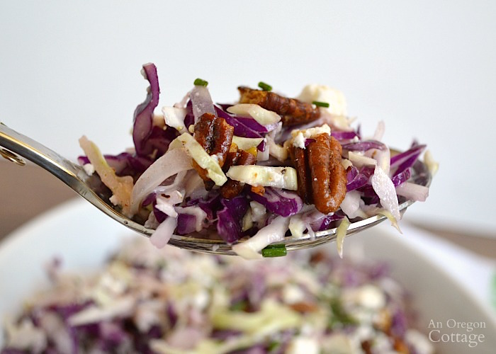 Delicious Cabbage Salad with Creamy Feta Vinaigrette and Spiced Pecans