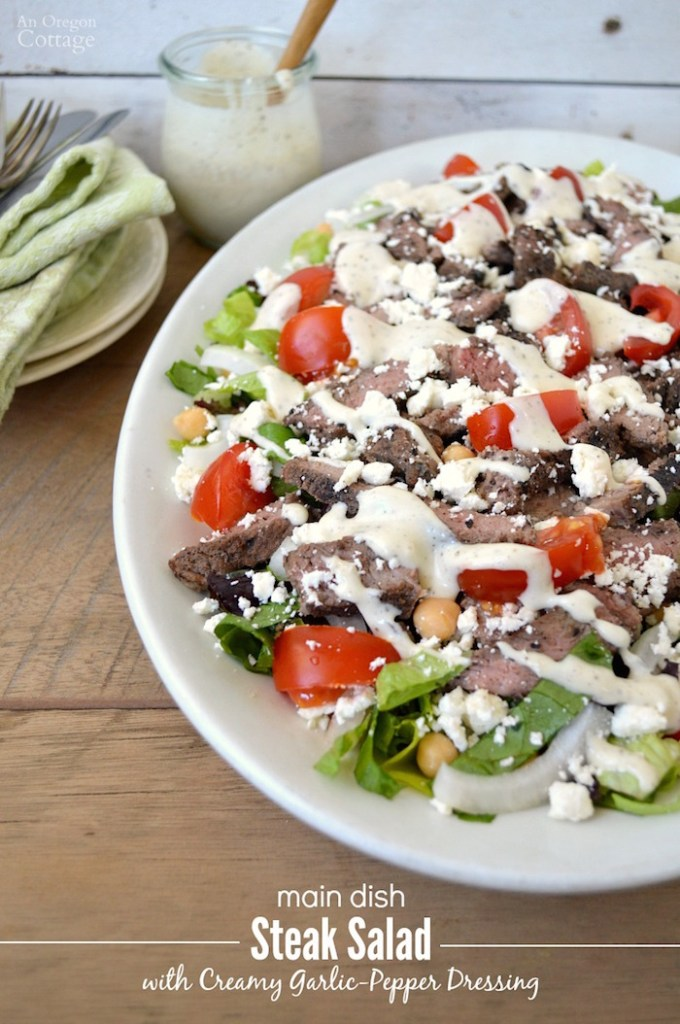 Easy Main Dish Steak Salad with Creamy Garlic-Pepper Dressing makes a fantastic warm weather meal!