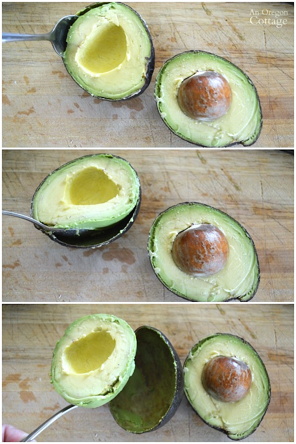 Skinning an avocado the easy way with a spoon