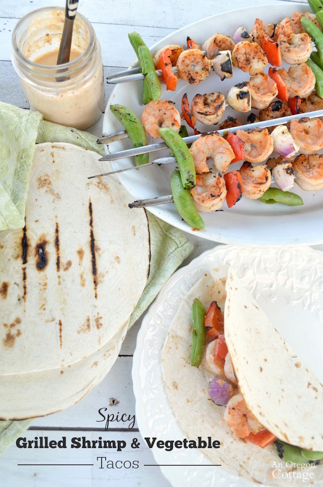 Easy Family Meal- Spicy Grilled Shrimp & Vegetable Tacos