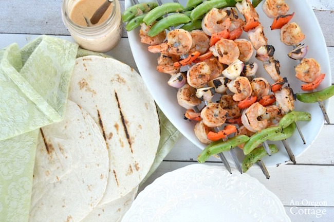 Grilled Vegetable and Shrimp spicy skewers make perfect tacos