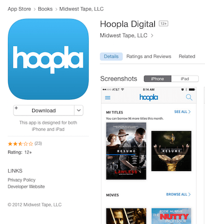 Hoopla in App Store