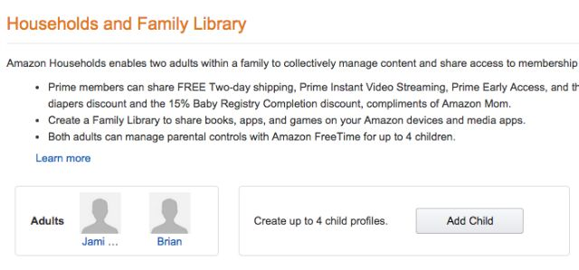 Amazon Households Family Library