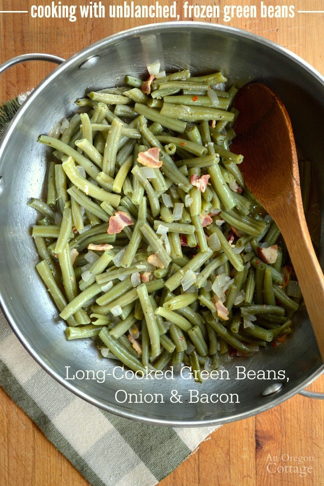 How to cook with unblanched, frozen green beans- a long-cooked green bean recipe