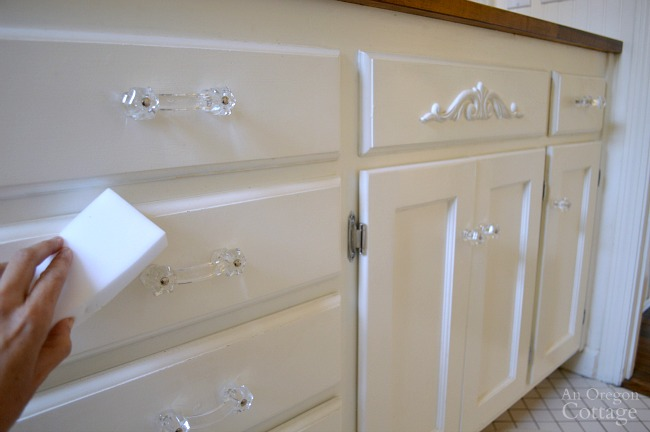 Cleaning white vanity with Easy Eraser