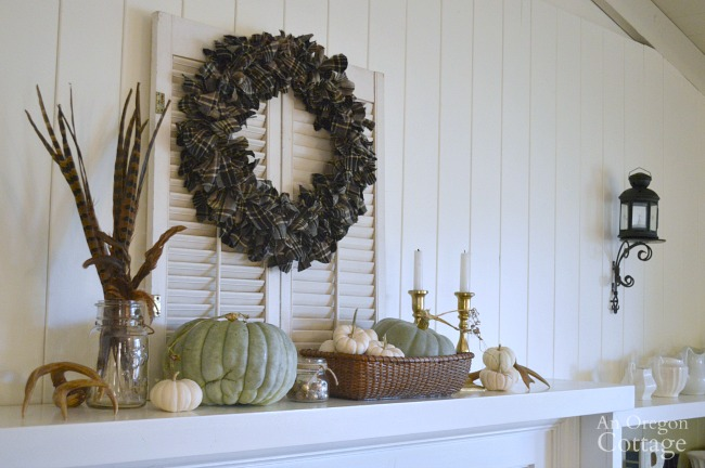 Easy DIY plaid wreath fall mantel