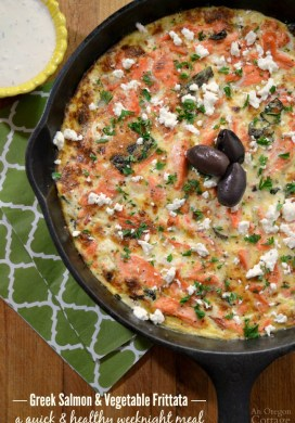 Greek Salmon and Vegetable Frittata with Creamy Feta Sauce