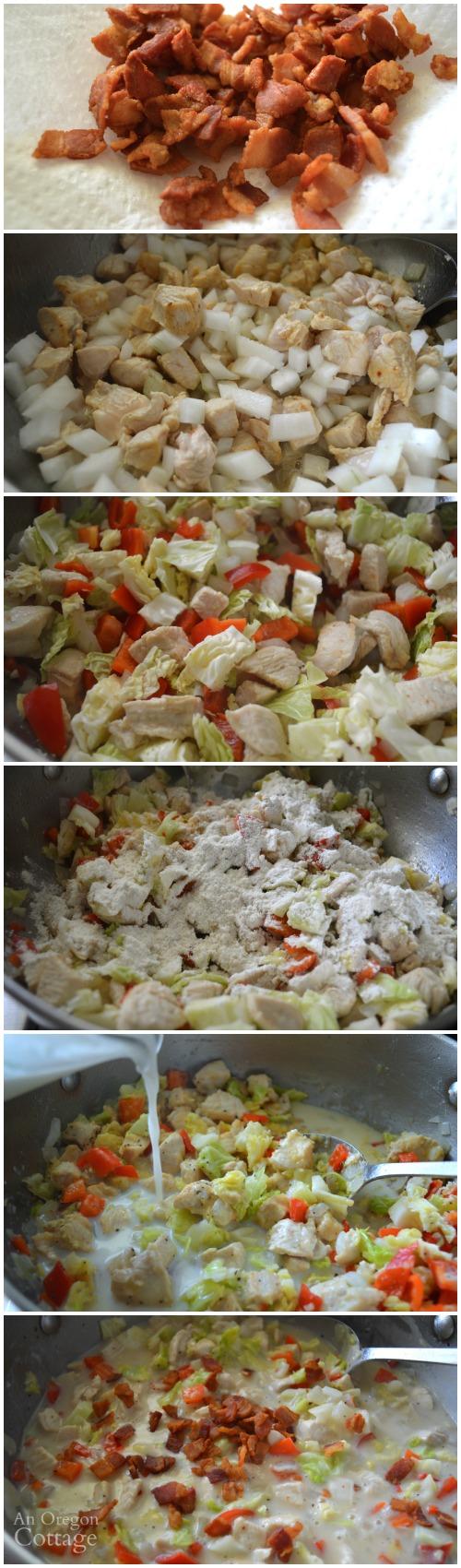 Making chicken pot pie filling from scratch