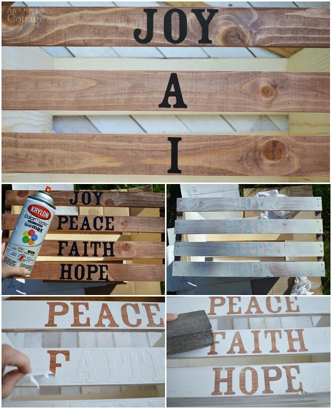 DIY Christmas Word Art Crate-steps 5-8