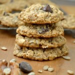 Gluten free Chocolate Chip, Nut & Seed Oatmeal Cookies- full of healthy oats and protein from nut butter, nuts, and seeds like sunflower & flax, these are good any time of the day: dessert, snack and even breakfast!