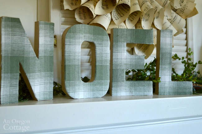 Diy plaid fabric covered paper mache letters for How to cover cardboard letters with fabric