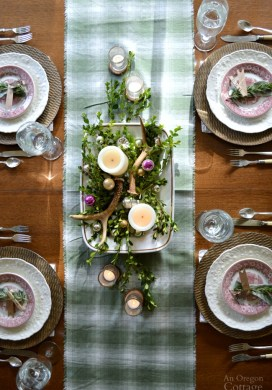 Green Plaid-Rustic Christmas Table