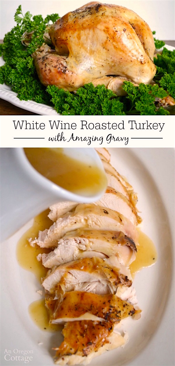 This simple recipe for roasted turkey basted with white wine makes the most amazing gravy! Try it for your next holiday and enjoy the compliments.