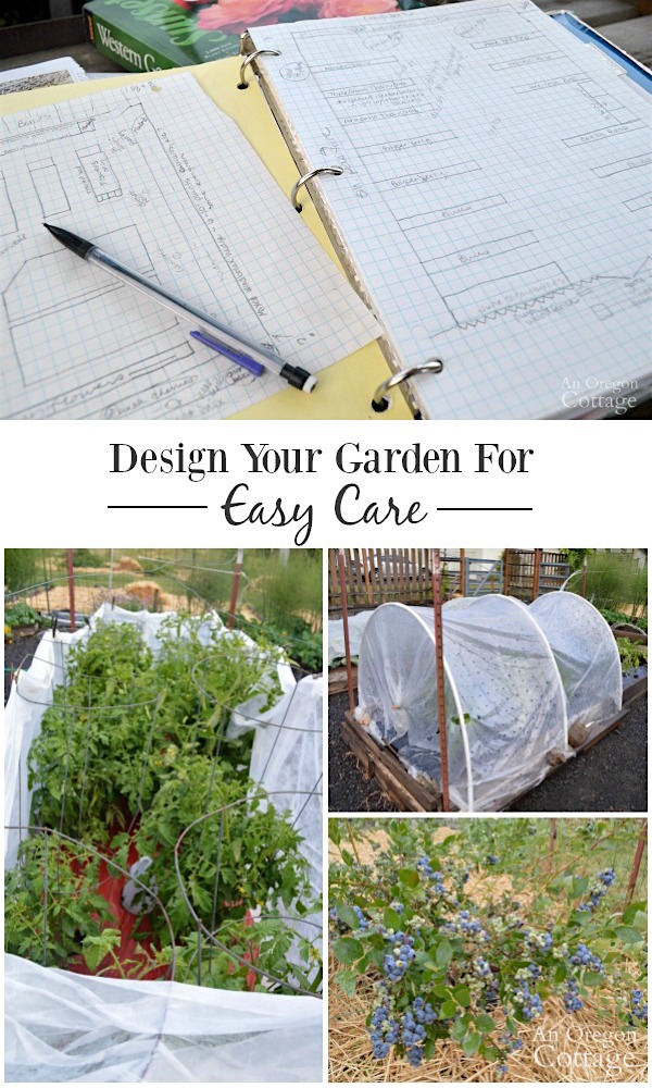 Vegetable garden design for easy care - spend time cooking and eating- not weeding!